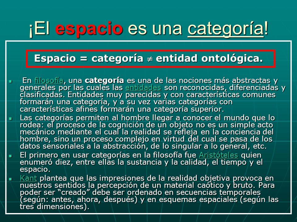 ¡El espacio es una categoría! Espacio = categoría entidad ontológica. En filosofía, una categoría es una de las nociones más abstractas y generales po