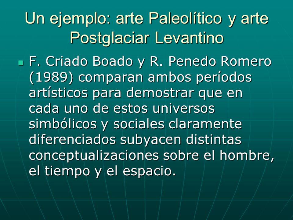 Un ejemplo: arte Paleolítico y arte Postglaciar Levantino F. Criado Boado y R. Penedo Romero (1989) comparan ambos períodos artísticos para demostrar