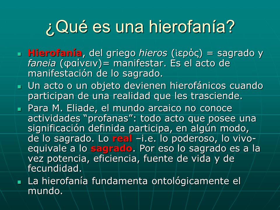 ¿Qué es una hierofanía? Hierofanía, del griego hieros ( ερός) = sagrado y faneia (φαίνειν)= manifestar. Es el acto de manifestación de lo sagrado. Hie
