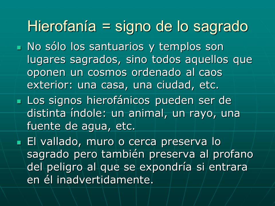 Hierofanía = signo de lo sagrado No sólo los santuarios y templos son lugares sagrados, sino todos aquellos que oponen un cosmos ordenado al caos exte