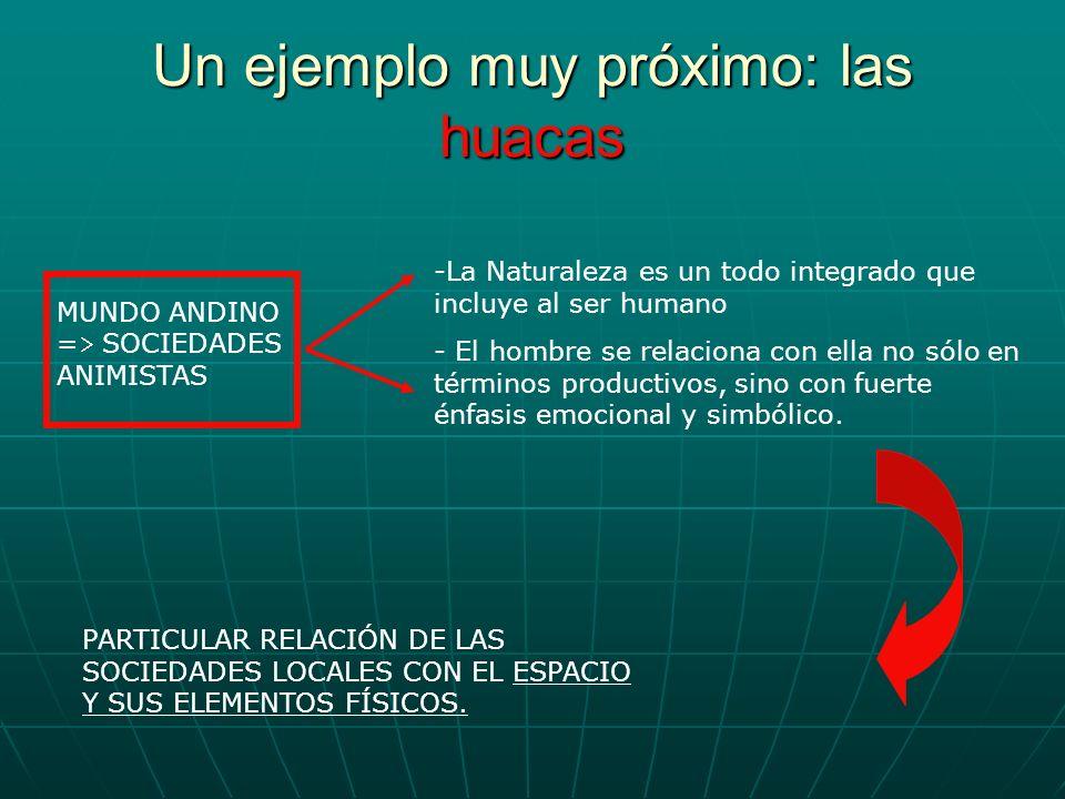 Un ejemplo muy próximo: las huacas -La Naturaleza es un todo integrado que incluye al ser humano - El hombre se relaciona con ella no sólo en términos