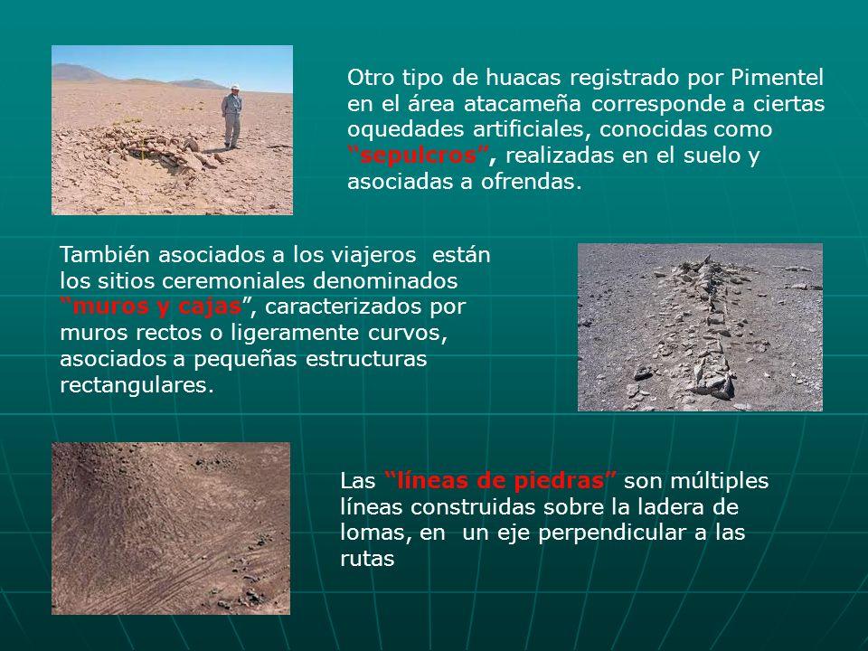 Otro tipo de huacas registrado por Pimentel en el área atacameña corresponde a ciertas oquedades artificiales, conocidas como sepulcros, realizadas en