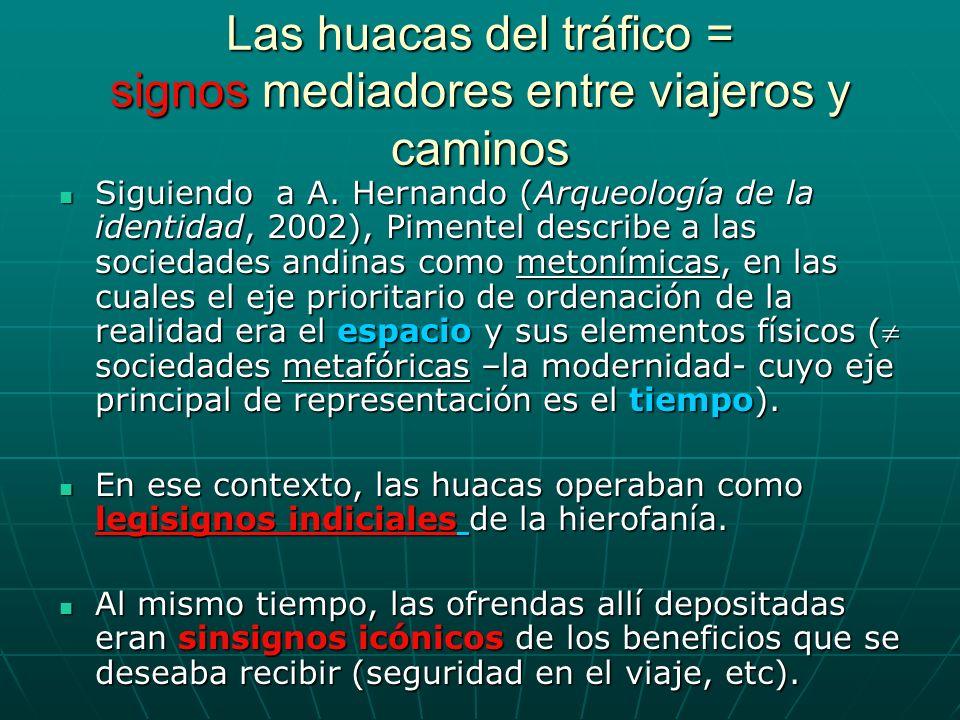 Las huacas del tráfico = signos mediadores entre viajeros y caminos Siguiendo a A. Hernando (Arqueología de la identidad, 2002), Pimentel describe a l
