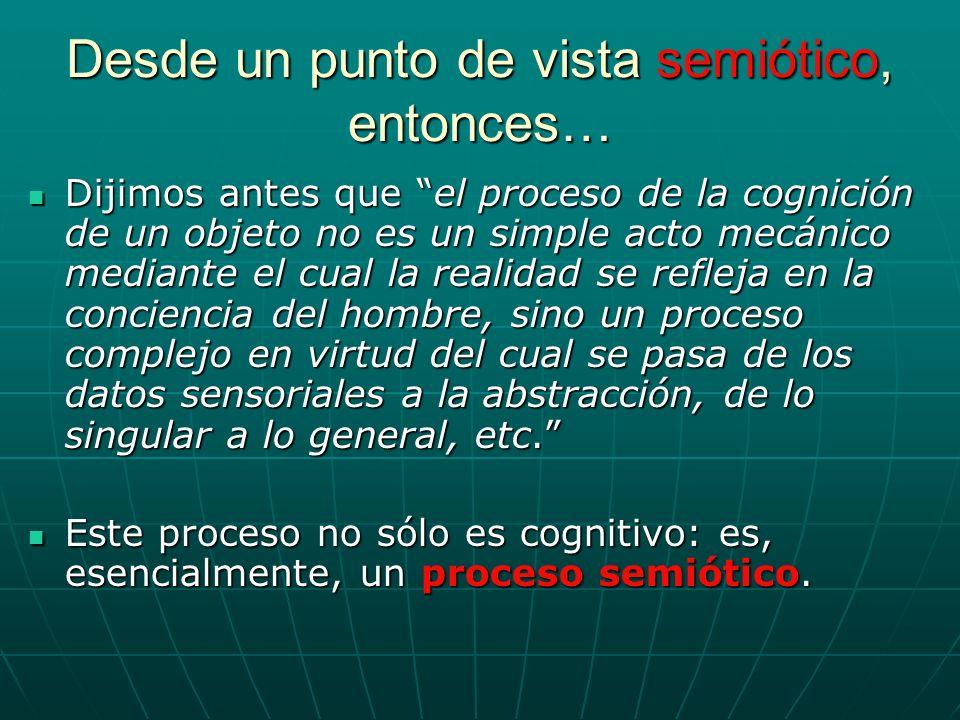 Desde un punto de vista semiótico, entonces… Dijimos antes que el proceso de la cognición de un objeto no es un simple acto mecánico mediante el cual