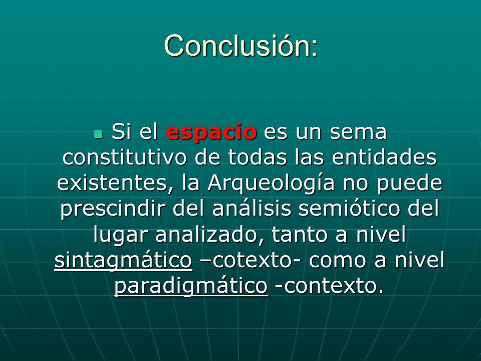 Conclusión: Si el espacio es un sema constitutivo de todas las entidades existentes, la Arqueología no puede prescindir del análisis semiótico del lug