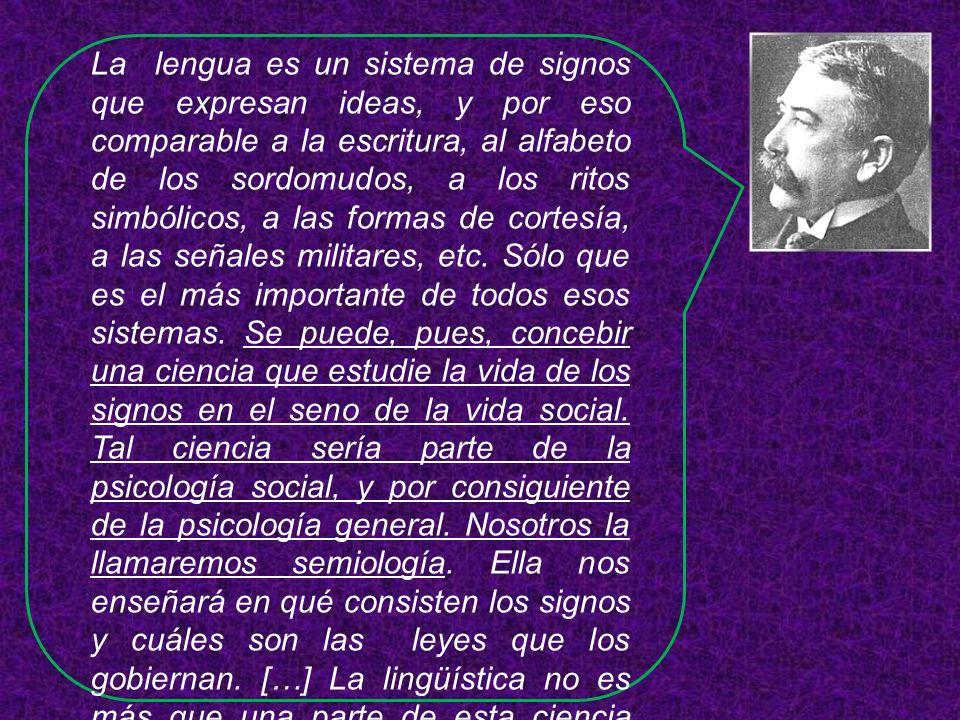 La lengua es un sistema de signos que expresan ideas, y por eso comparable a la escritura, al alfabeto de los sordomudos, a los ritos simbólicos, a la