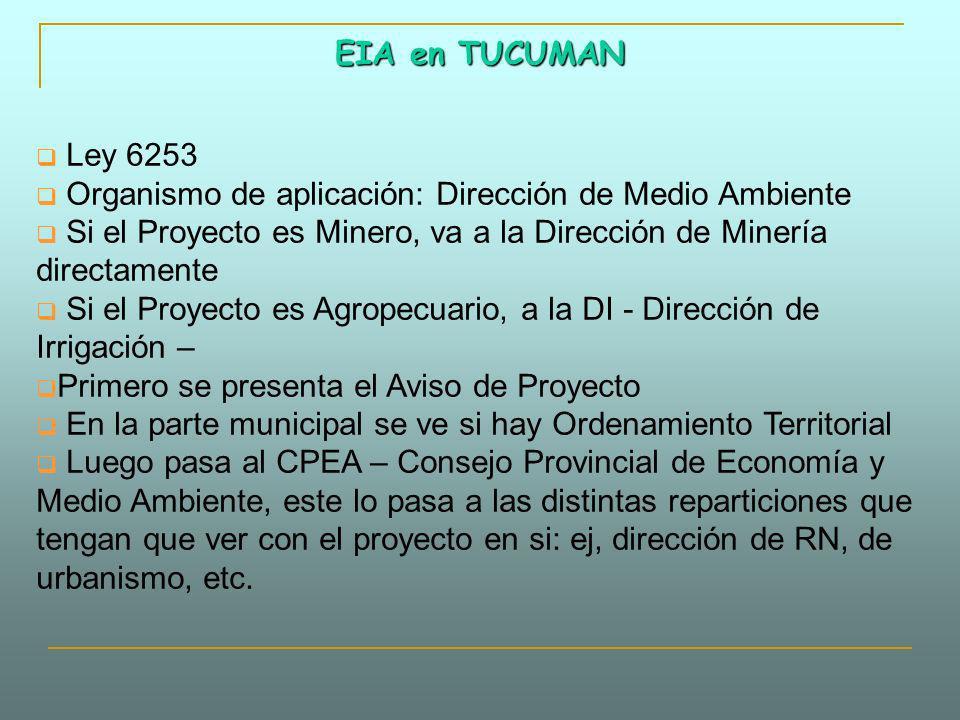 EIA en TUCUMAN Ley 6253 Organismo de aplicación: Dirección de Medio Ambiente Si el Proyecto es Minero, va a la Dirección de Minería directamente Si el