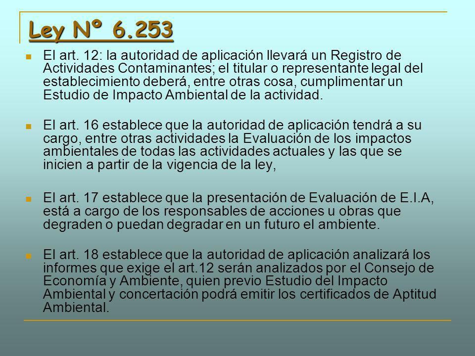 Ley Nº 6.253 Ley Nº 6.253 El art. 12: la autoridad de aplicación llevará un Registro de Actividades Contaminantes; el titular o representante legal de