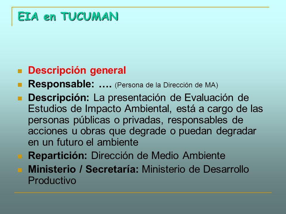 EIA en TUCUMAN Descripción general Responsable: …. (Persona de la Dirección de MA) Descripción: La presentación de Evaluación de Estudios de Impacto A