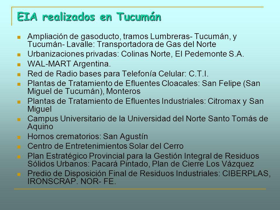 EIA realizados en Tucumán Ampliación de gasoducto, tramos Lumbreras- Tucumán, y Tucumán- Lavalle: Transportadora de Gas del Norte Urbanizaciones priva