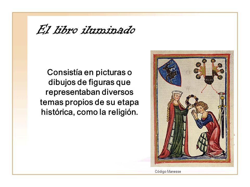 El libro iluminado Código Manesse Consistía en picturas o dibujos de figuras que representaban diversos temas propios de su etapa histórica, como la r