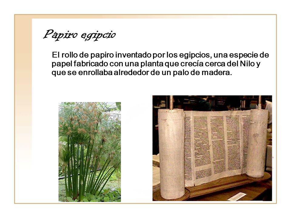 Papiro egipcio El rollo de papiro inventado por los egipcios, una especie de papel fabricado con una planta que crecía cerca del Nilo y que se enrolla