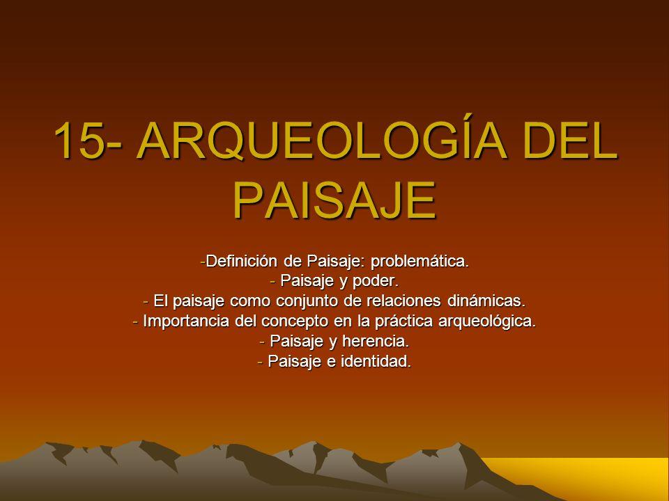 El problema de la definición de paisaje Objeto Paisaje Experiencia Representación Concepción moderna del mundo Paisaje como objeto a ser contemplado Mundo = imagen y objeto Hombre = observador externo ¡¡Complejidad del concepto!!