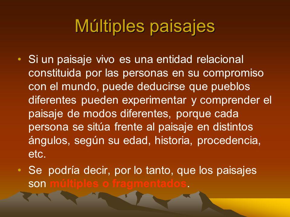 Múltiples paisajes Si un paisaje vivo es una entidad relacional constituida por las personas en su compromiso con el mundo, puede deducirse que pueblo