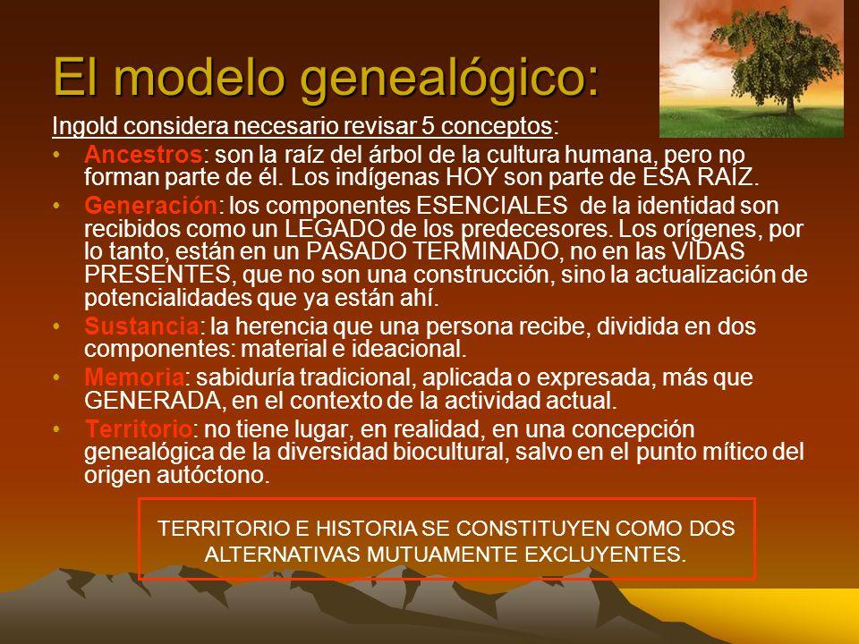 El modelo genealógico: Ingold considera necesario revisar 5 conceptos: Ancestros: son la raíz del árbol de la cultura humana, pero no forman parte de