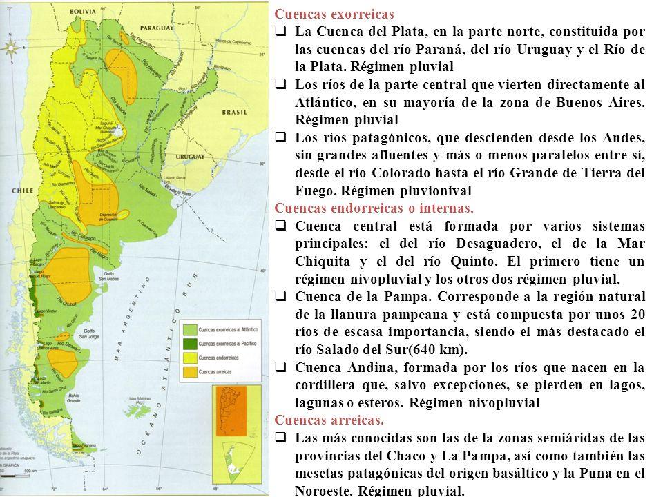 Cuencas exorreicas La Cuenca del Plata, en la parte norte, constituida por las cuencas del río Paraná, del río Uruguay y el Río de la Plata. Régimen p