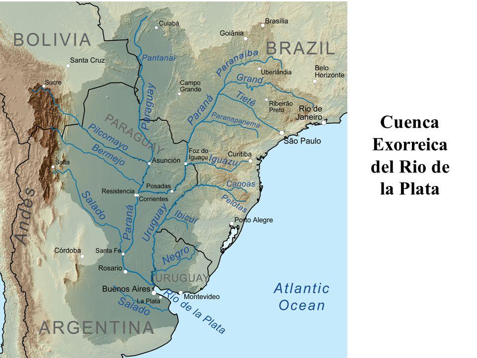 La Cuenca del Plata se encuentra entre los paralelos 14 y 37º Sur y los meridianos 43 y 67º Oeste, con aproximadamente 3 200 000 km², abarcando parte de Brasil y Bolivia, la totalidad del Paraguay y gran parte del Uruguay y la Argentina Los dos grandes ríos de la cuenca, el Paraná y el Uruguay, tienen una densa red de afluentes, subafluentes y tributarios menores, como los ríos Paraguay, Pilcomayo, Bermejo, Salado, Carcarañá, río Tercero, río Cuarto, Iguazú, Gualeguay, arroyo Nogoyá, Mocoretá, Gualeguaychú, Miriñay, Aguapey, Río Negro, Guaycurú, Pilagá, SanJavier, Queguay, Arapey,Guayquiraró y Samboromb ón, entre otros.