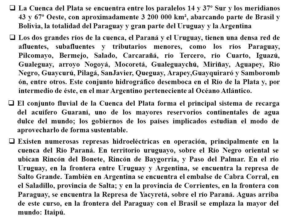 La Cuenca del Plata se encuentra entre los paralelos 14 y 37º Sur y los meridianos 43 y 67º Oeste, con aproximadamente 3 200 000 km², abarcando parte