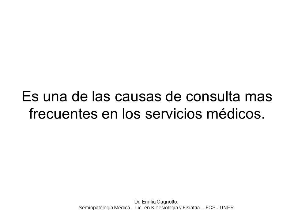 Es una de las causas de consulta mas frecuentes en los servicios médicos. Dr. Emilia Cagnotto. Semiopatología Médica – Lic. en Kinesiología y Fisiatrí