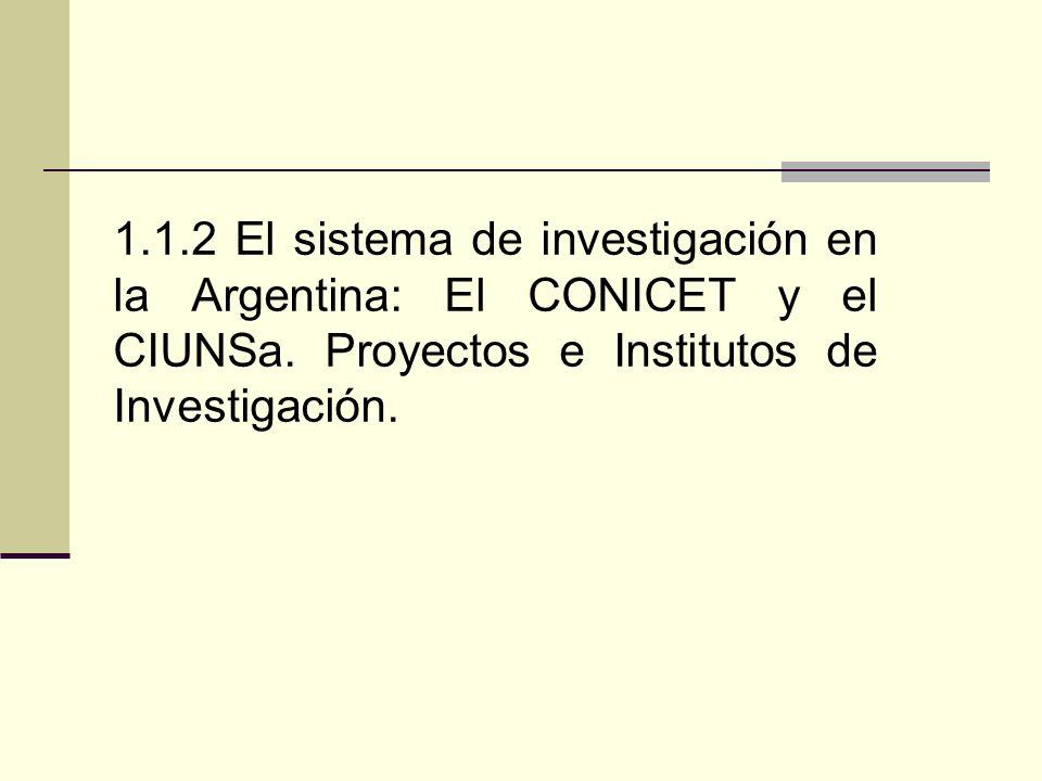 1.1.2 El sistema de investigación en la Argentina: El CONICET y el CIUNSa.