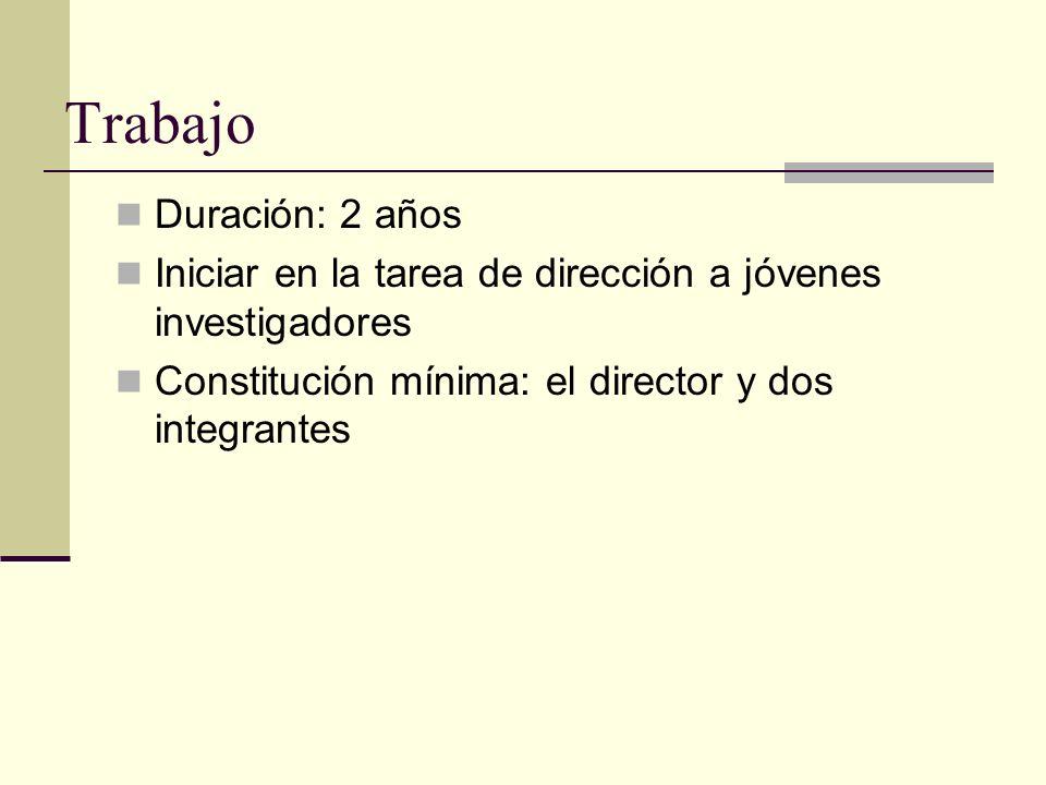 Trabajo Duración: 2 años Iniciar en la tarea de dirección a jóvenes investigadores Constitución mínima: el director y dos integrantes