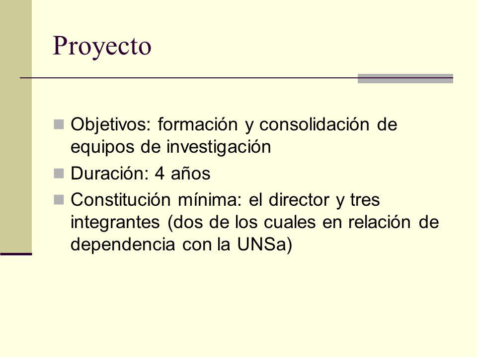 Proyecto Objetivos: formación y consolidación de equipos de investigación Duración: 4 años Constitución mínima: el director y tres integrantes (dos de los cuales en relación de dependencia con la UNSa)