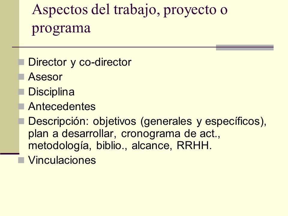 Aspectos del trabajo, proyecto o programa Director y co-director Asesor Disciplina Antecedentes Descripción: objetivos (generales y específicos), plan a desarrollar, cronograma de act., metodología, biblio., alcance, RRHH.
