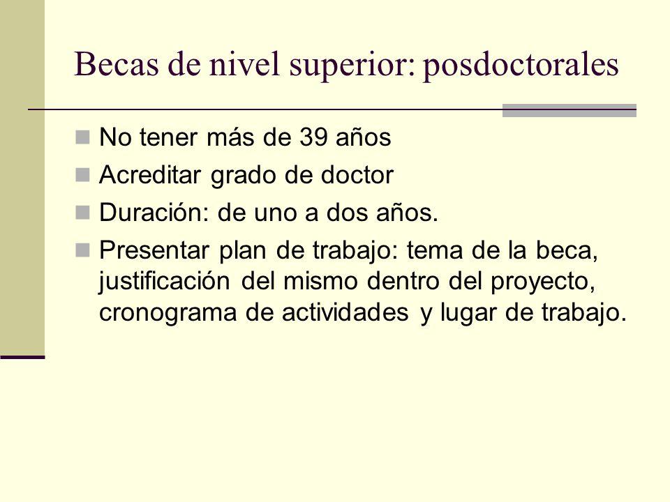 Becas de nivel superior: posdoctorales No tener más de 39 años Acreditar grado de doctor Duración: de uno a dos años.