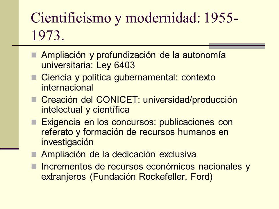 Reconstrucción a partir de 1983 y actualidad Investigación científica elemento esencial de la vida universitaria Mayores ofertas de estudios de posgrados Creación de Secretarias de ciencia y técnica en varias universidades Agenda de los noventa: calidad y evaluación.