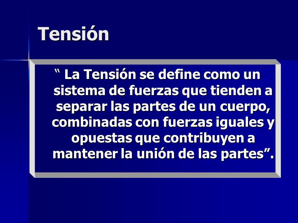 Tensión La Tensión se define como un sistema de fuerzas que tienden a separar las partes de un cuerpo, combinadas con fuerzas iguales y opuestas que c