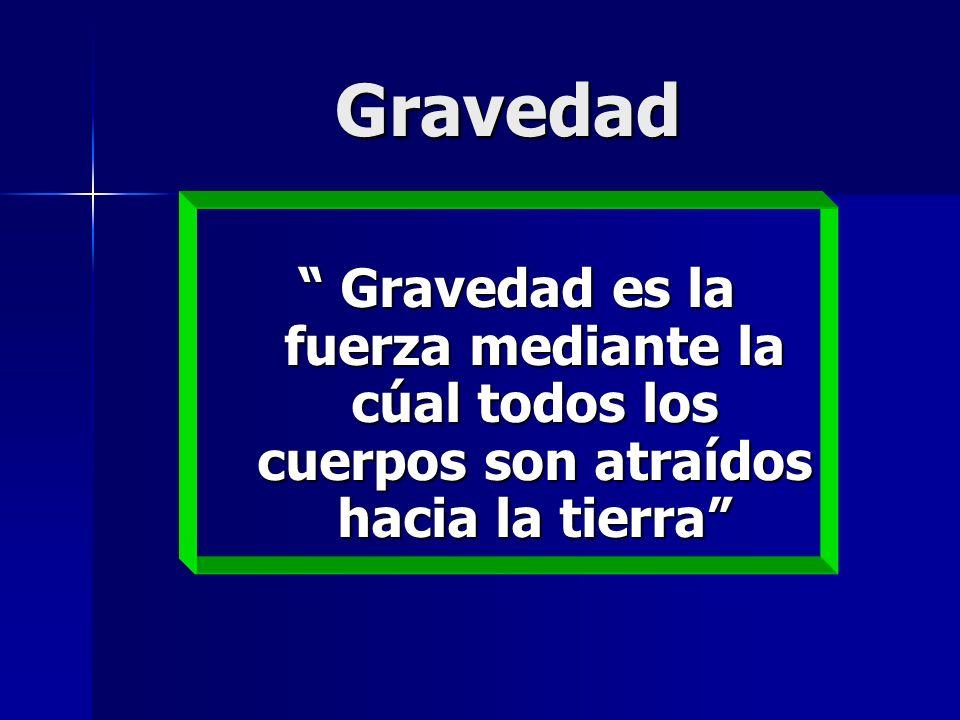Gravedad Gravedad es la fuerza mediante la cúal todos los cuerpos son atraídos hacia la tierra Gravedad es la fuerza mediante la cúal todos los cuerpo