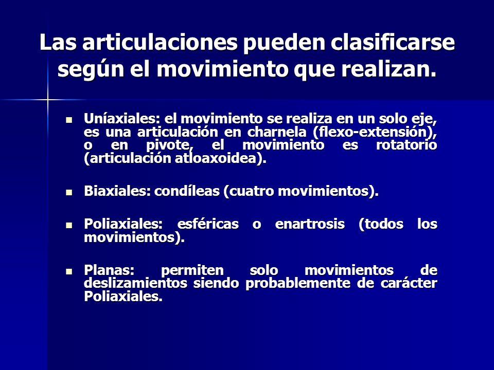 Las articulaciones pueden clasificarse según el movimiento que realizan. Uníaxiales: el movimiento se realiza en un solo eje, es una articulación en c