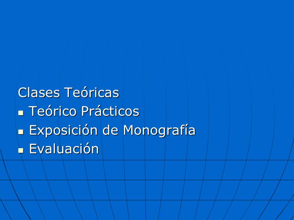 Clases Teóricas Teórico Prácticos Teórico Prácticos Exposición de Monografía Exposición de Monografía Evaluación Evaluación