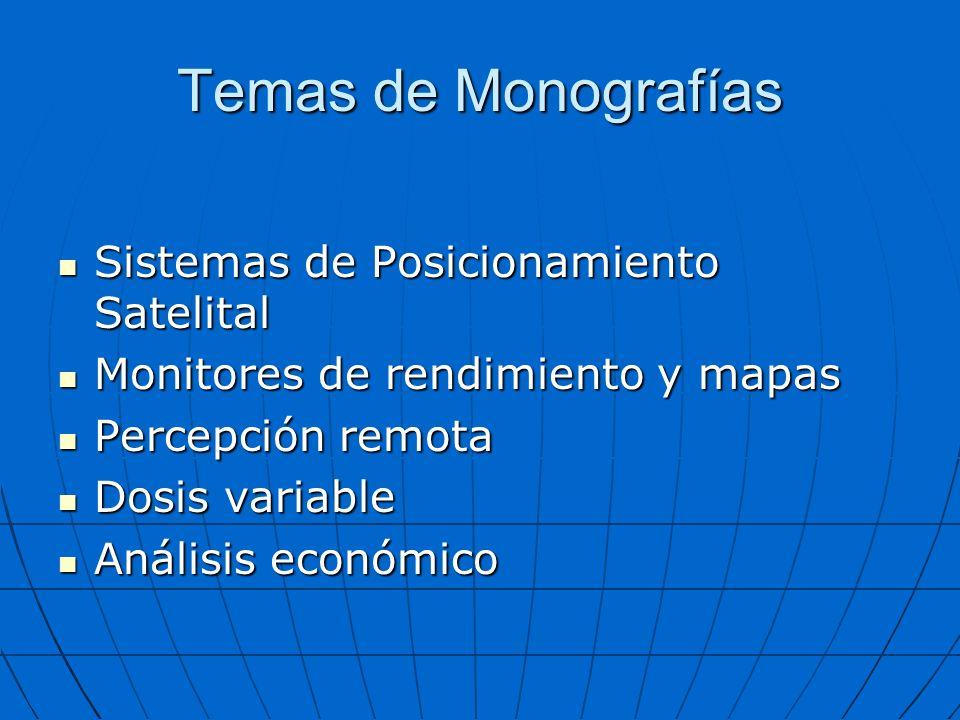 Temas de Monografías Sistemas de Posicionamiento Satelital Sistemas de Posicionamiento Satelital Monitores de rendimiento y mapas Monitores de rendimi