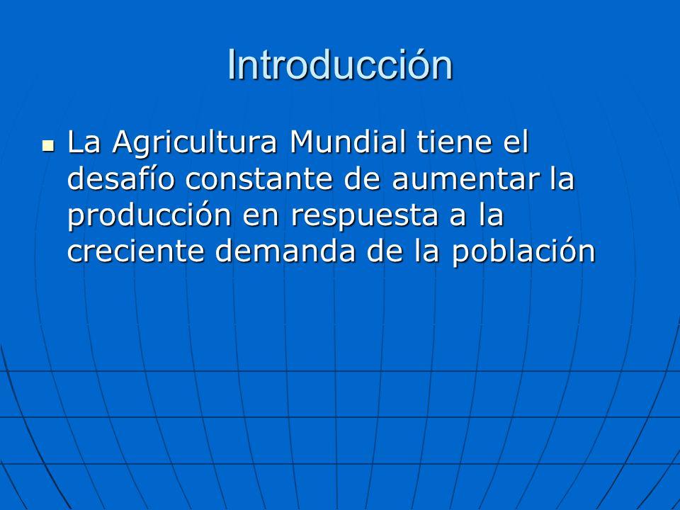 Introducción Expansión de nuevas áreas agrícolas Expansión de nuevas áreas agrícolas Aumento de rendimientos en esas áreas (mejoramiento, insumos mas eficientes, riego fertilización, etc) Aumento de rendimientos en esas áreas (mejoramiento, insumos mas eficientes, riego fertilización, etc)