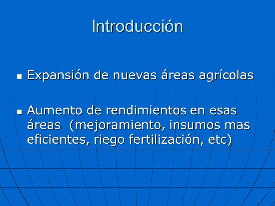 Introducción Expansión de nuevas áreas agrícolas Expansión de nuevas áreas agrícolas Aumento de rendimientos en esas áreas (mejoramiento, insumos mas