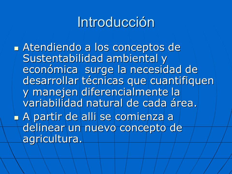 Introducción Atendiendo a los conceptos de Sustentabilidad ambiental y económica surge la necesidad de desarrollar técnicas que cuantifiquen y manejen