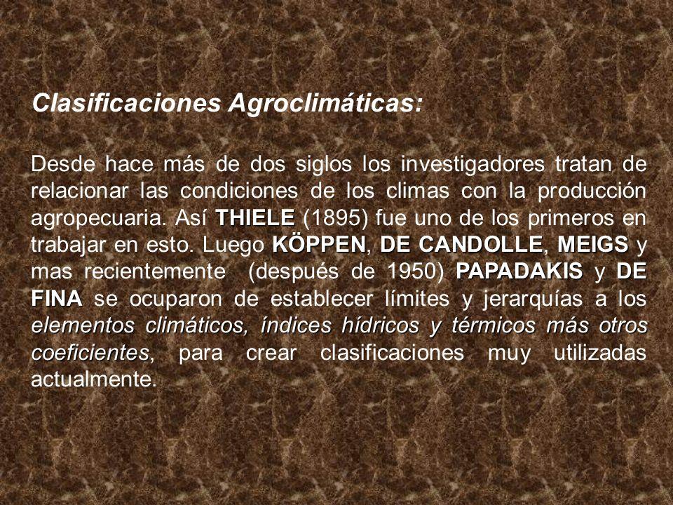 Clasificaciones Agroclimáticas: THIELE KÖPPENDE CANDOLLEMEIGS PAPADAKISDE FINA elementos climáticos, índices hídricos y térmicos más otros coeficiente