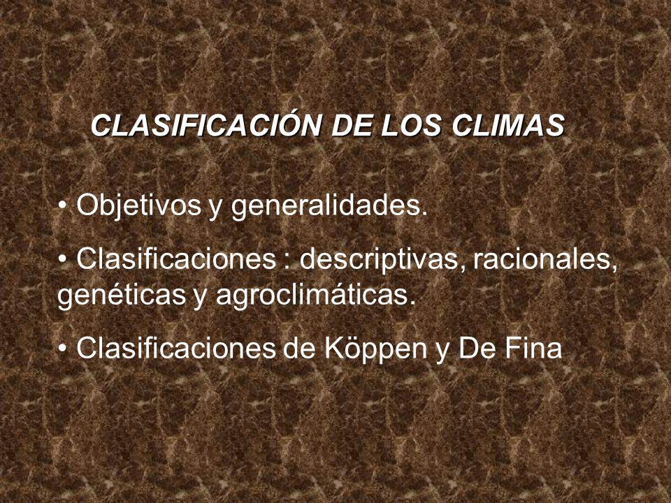 Objetivos Objetivos: las clasificaciones de los climas tienen por objeto caracterizar unidades climáticas en sus elementos principales y de mayor acción sobre la superficie terrestre, que son la temperatura y la lluvia.