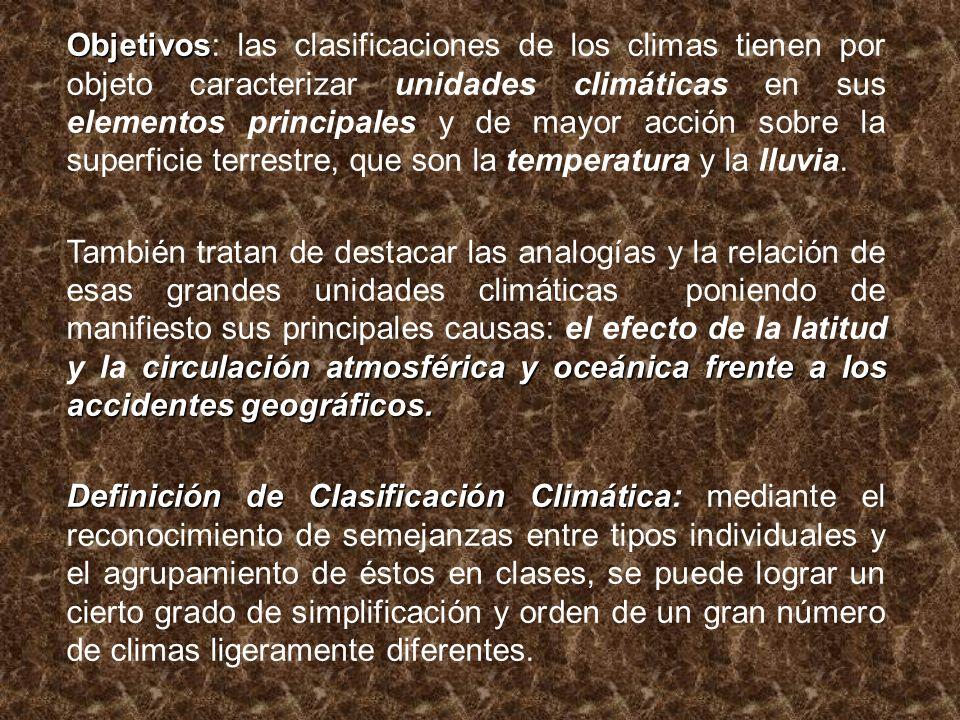 Objetivos Objetivos: las clasificaciones de los climas tienen por objeto caracterizar unidades climáticas en sus elementos principales y de mayor acci