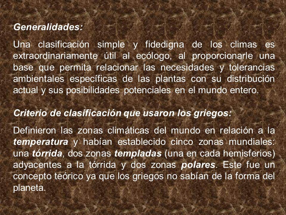 Generalidades: Una clasificación simple y fidedigna de los climas es extraordinariamente útil al ecólogo, al proporcionarle una base que permita relac