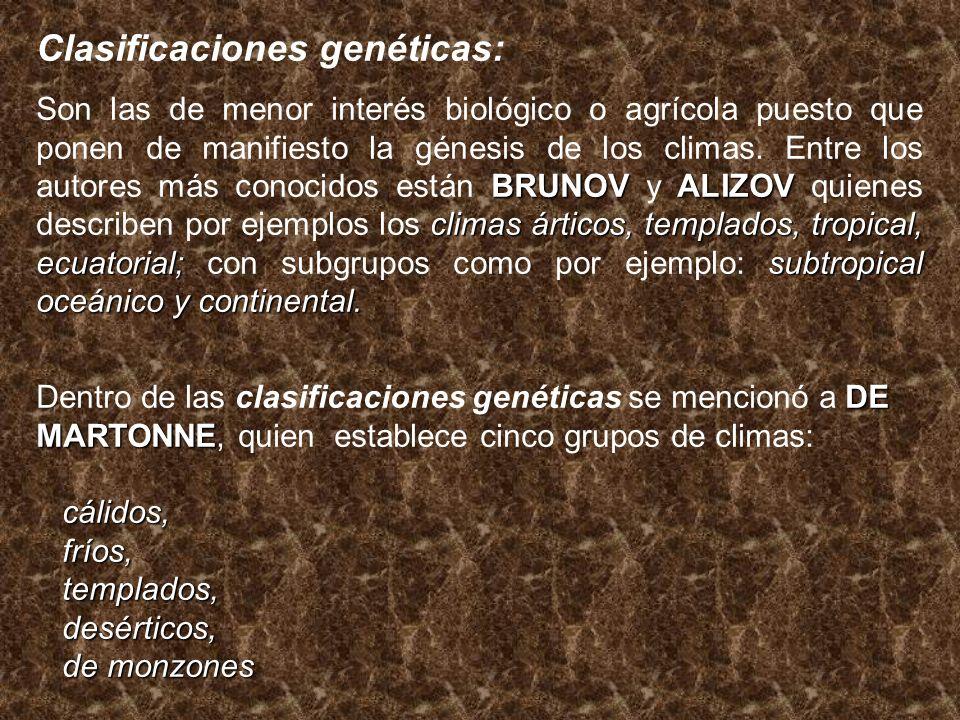 Clasificaciones genéticas: BRUNOVALIZOV climas árticos, templados, tropical, ecuatorial;subtropical oceánico y continental. Son las de menor interés b