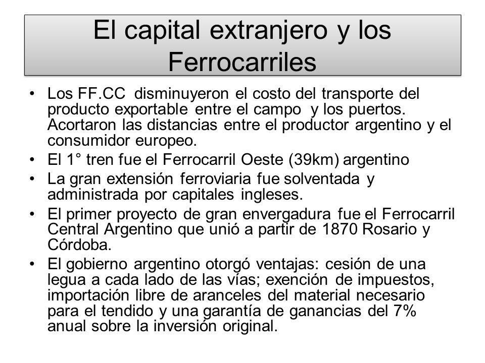 El capital extranjero y los Ferrocarriles La magnitud del proceso: en 1865 existían 249 km mientras en 1914 éstas ascendían a 35.000 km La expansión de los FF.CC permitió incorporar no solo zonas de la llanura pampeana sino también integrar a los cultivos de Tucumán y Cuyo al circuito económico nacional.