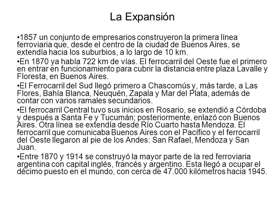 La Expansión 1857 un conjunto de empresarios construyeron la primera línea ferroviaria que, desde el centro de la ciudad de Buenos Aires, se extendía