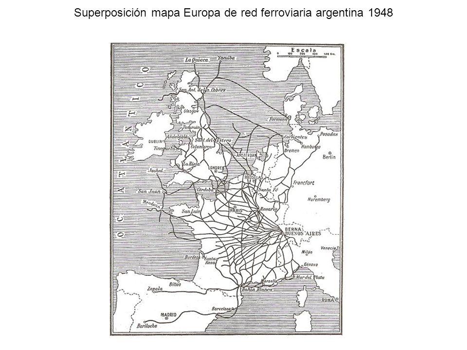 Superposición mapa Europa de red ferroviaria argentina 1948