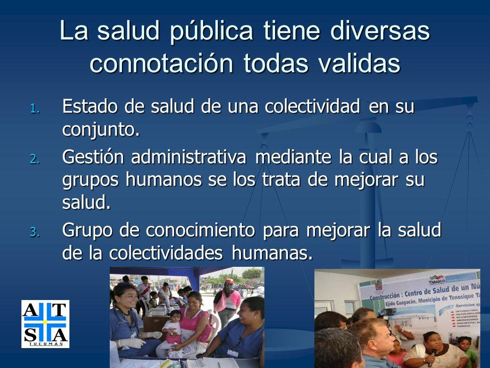 La salud pública tiene diversas connotación todas validas 1. Estado de salud de una colectividad en su conjunto. 2. Gestión administrativa mediante la