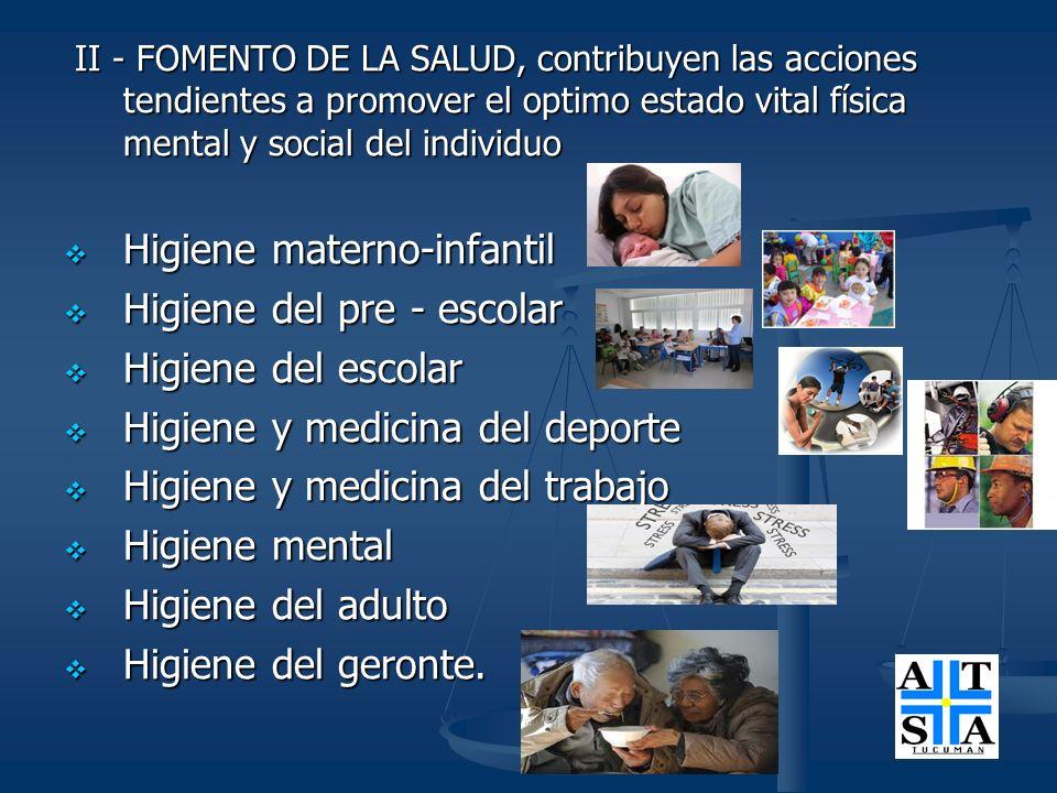 III - RECUPERACION DE LA SALUD : Todas las acciones organizadas que se realizan para restaurar la salud perdida corresponde a la medina asistencial.