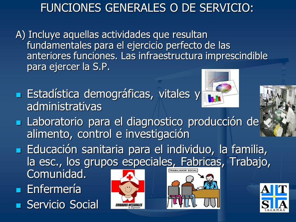 FUNCIONES GENERALES O DE SERVICIO: FUNCIONES GENERALES O DE SERVICIO: A) Incluye aquellas actividades que resultan fundamentales para el ejercicio per