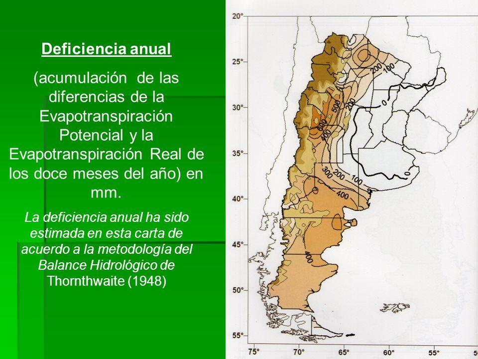 Deficiencia anual (acumulación de las diferencias de la Evapotranspiración Potencial y la Evapotranspiración Real de los doce meses del año) en mm. La