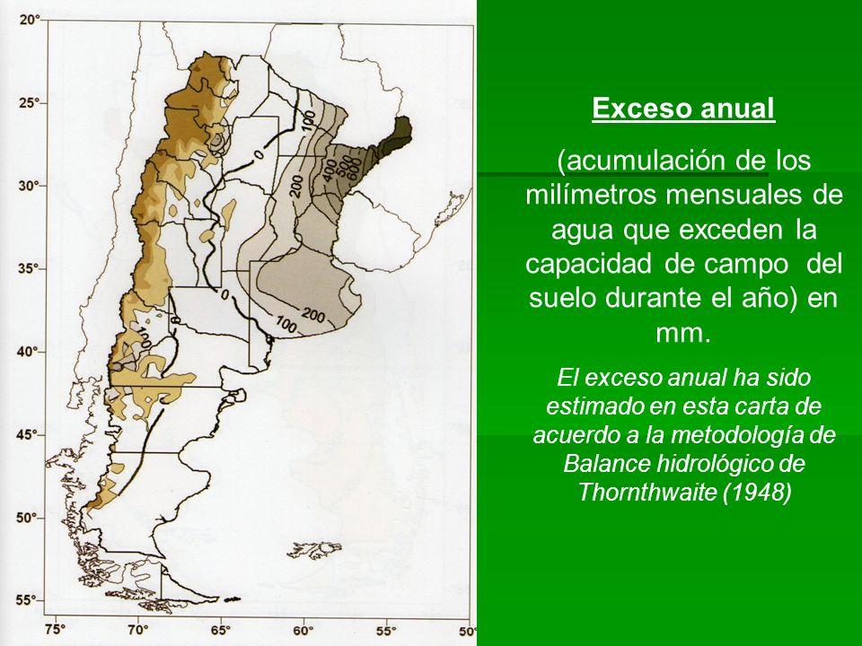 Exceso anual (acumulación de los milímetros mensuales de agua que exceden la capacidad de campo del suelo durante el año) en mm. El exceso anual ha si